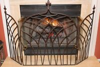 Antique Cast Iron Fireplace Screen 19C