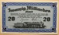 MEGA RARE UNCIRC 20 BILLION MARK NOTE of #1 WW2 GERMAN TRAIN/TANK MFR (HENSCHEL)
