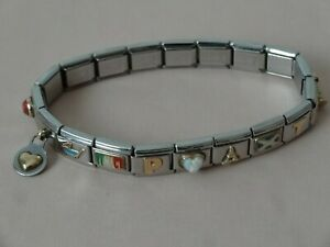 Nominations Stainless steel Whih 18ct Charms Opal Gemstone Bracelet