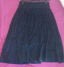 Monsoon Helena Skirt Navy Blue Black Floral Embroiderey Uk Large Bnwt