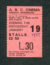 1977 Hall & Oates concert ticket stub Manchester UK Bigger Than The Both Of Us