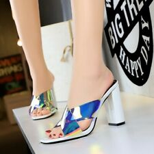 Womens Mules Sandals Patent Leather Block High Heels Slippers Open Toe Shoes