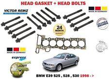 FOR BMW E39 523 525 528 530 M54B 1998-> CYLINDER HEAD GASKET + HEAD BOLT SET