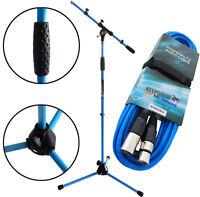 keepdrum MS106 BL Blau Mikrofonständer Stativ mit Galgen + 6m XLR Kabel Blau