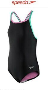 Speedo Black And Fuchsia Pink Girls Size 16 Swimsuit
