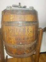 Antique Belle #0 Wood Barrel Primitive Butter Churn w/Stand McDermaid