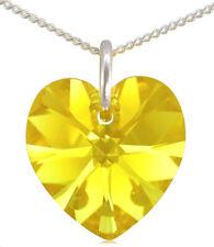 November Birthstone Necklace Citrine 925 Silver Heart with Swarovski® Crystal
