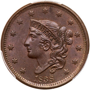 1838 N-5 PCGS MS 64 BN CAC Matron or Coronet Head Large Cent Coin 1c