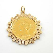 Solid 24K Yellow Gold Vintage 1881 Gold Coin United States Of America Pendant QR