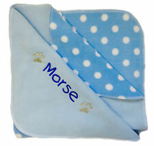 Spoilt Rotten Pets Personalised Cosy Paw Blue Polka Dog Bed Blanket 90 x 70 cm