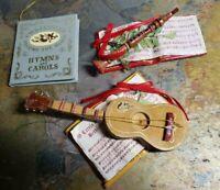 1986  KURT  ADLER Christmas Ornament  Musical Instruments Guitar and Flute, Book