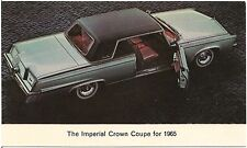 1965 Imperial Crown Coupe Automobile Advertising Postcard