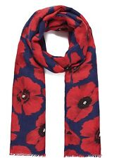 Navy Twilled Poppy Long Scarf , Throw , Wrap . lovely material brand new