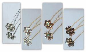 10 Bridal Wedding Diamond Flower Crystal Diamante Hair Pins Clips Grips Slides