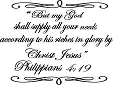 Philippians 4:19 Fancy  Bible quote  wall vinyl decal