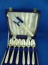 Vintage Set Six Angora Silver Plate Grapefruit Spoons & Knife EPNS Original Box