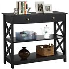 Console Table with Drawer and 2 Open Shelves Narrow Sofa Side Table for Entryway