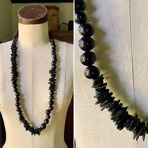 Rare ESKANDAR Mid Length Black Shaped Jarina Paixubao Seed Necklace NWT