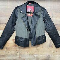 Collection by Bernardo Vegan Leather Moto Jacket Black/Green Size Medium