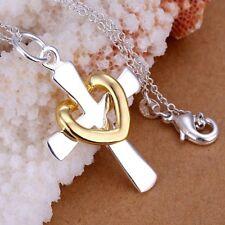 ASAMO Damen Halskette Kreuzkette mit Herz 925 Sterling Silber plattiert H1094