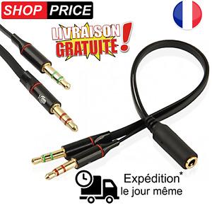 Cable adaptateur casque PC micro smartphone 3.5mm Jack femelle/Double 3.5 male
