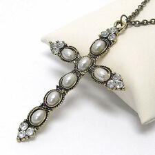 Fashion Jewelry Cross Stone Pendant Chain Crystal Pearl Tribal Gem Necklace