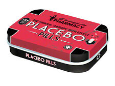 Retro Tin Metal Pill Box 'PLACEBO PILLS' filled with Mints - 6 x 4cm Americana