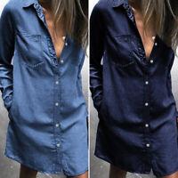 Mode Femme en Jean Loisir Manche Longue Revers Boutons Chemise Robe Jupe Plus