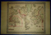 Vintage Circa 1874 WORLD MAP on the MERCATOR PROJECTION Old Antique Original