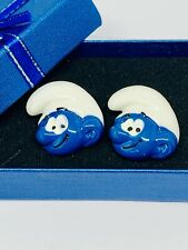 Handmade Smurf Resin Cufflinks Silver Plated Toggles, W/Gift Box!
