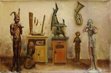 Russian Ukrainian Soviet Oil Painting musicians harlequin figures realism