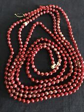 Vintage Mercury Glass Bead Garland Red Feather Christmas Tree Japan Tag 104� L