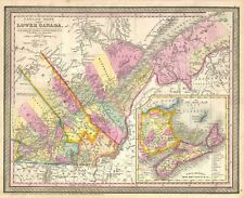 1854 Mitchell Map of Quebec, Lower Canada or Canada East