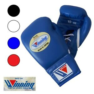 Winning Boxing Gloves Lace Up Pro Type 10 oz Blue MS-300 Made in Japan New F/S