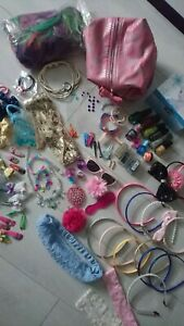 BUNDLE GIRLS 100+ITEMS HAIRS BANDS HAIR RUBBERS WIG NAILS MAKE UP AND MORE(1.5)