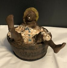 Vtg Blk Americana Advertising Cast Iron Save When You Buy DIXIE BRAND SOAP Bank