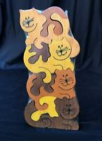 1985 Vintage Wood Stacked Cats Puzzle 8pc New Heat Sealed Artist Signed Colorful