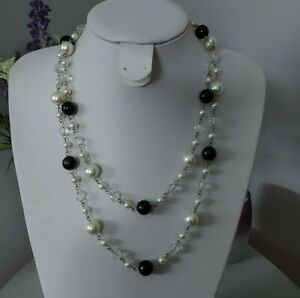 Retro Statement Clear Black White Plastic Round Beaded Long Costume Necklace