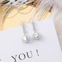 White Gold Plated Clear CZ Crystal Dangly Round Drop Party Earrings