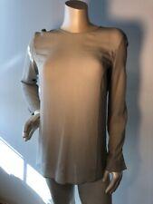 Giorgio Armani Le Collezioni Sz 4 Gray Silk Collarless Blouse Back buttons Bin-V