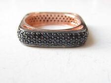 Rose Gold Plt. 925 Sterling Silver Turkish Black Zircon Square Ladies Ring Sz 8