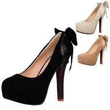 Womens high heels Clubwear Vintage Bow Platform Elegant Shoes Plus Size 0-10