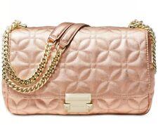 New Michael Kors Sloan Quilted Floral chain shoulder bag metallic Rose gold bag