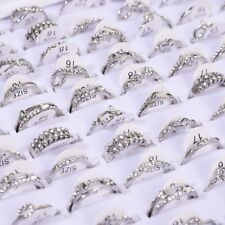 50 Pcs Wholesale Mixed Lots Jewelry Sliver Resale Zirconia Stainless Steel Rings