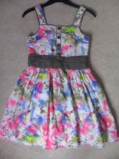 EX M&S ABSTRACT PRINT BUTTON SASH DETAIL SHORTER LENGTH PROM PARTY DRESS AGE 11