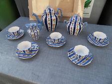 Vintage tea coffee set service a café thé art deco Faience Desvres Geo Martel MG