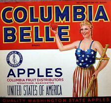 Columbia Belle Washington Vintage Apple Label Original Fruit Crate Label