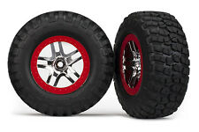Traxxas [TRA] SCT Red Beadlock Wheels and Tires (2) Slash 4x4 6873A TRA6873A