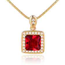 Luxury 9mm Square Ruby Yellow Gold Filled Pendant Lady Women Lady Cameo Necklace