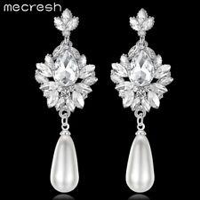 Mecresh Elegant Simulated Pearl Crystal Bridal Drop Earring for Women's Wedding